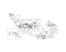 110-418F8280B - Full System Titanium Headers Titanium Blue Silencer Fixed Baffle Fire Spec