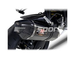 11180021 - Yoshimura Carbon R77 Full System (4-2-1) - Stainless Duplex Header Carbon Coned End Cap - Race (Removeable Baffle)