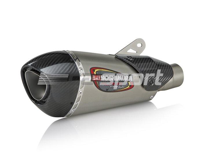 11181MP720 - Yoshimura Titanium Alpha T Slip On Carbon Fibre End Cap and Heat Shield - Race (removable Baffle)