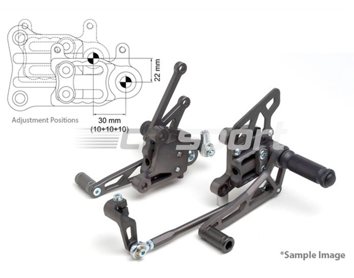 118A022-118-SW - LSL 2Slide Adjustable Rearset Kit - Black, Black Inserts, other colours available. - Conventional & Reverse Shift Possible