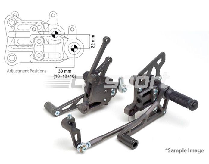 118H099-118-SW - LSL 2Slide Adjustable Rearset Kit - Black, Black Inserts, other colours available.