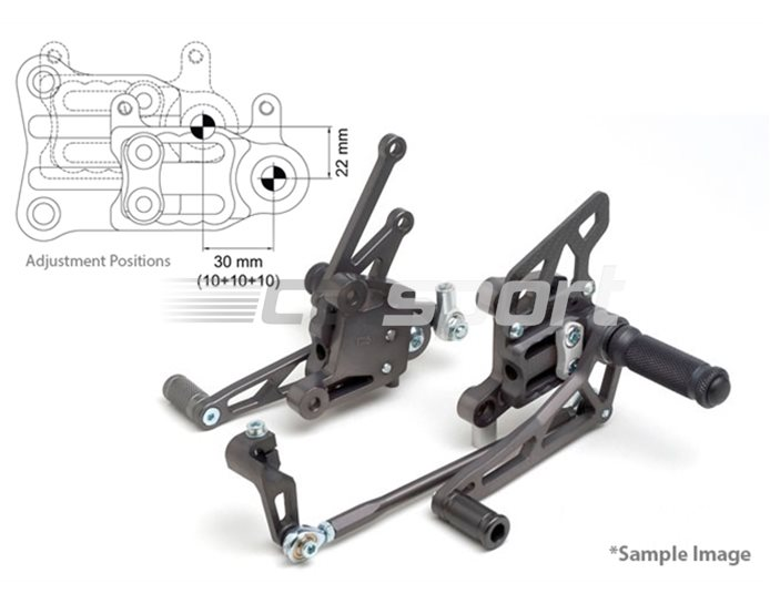 118K107-118-SI - LSL 2Slide Adjustable Rearset Kit - Black, Silver Inserts, other colours available. (Conventional & Reverse Shift Possible)