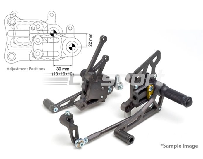 118K120-118-GO - LSL 2Slide Adjustable Rearset Kit - Black, Gold Inserts, other colours available. (Conventional & Reverse Shift Possible)