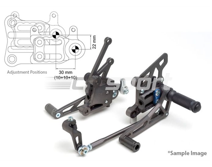 118S097-118-BL - LSL 2Slide Adjustable Rearset Kit - Black, Transparent Blue Inserts, other colours available. (Conventional & Reverse Shift Possible)