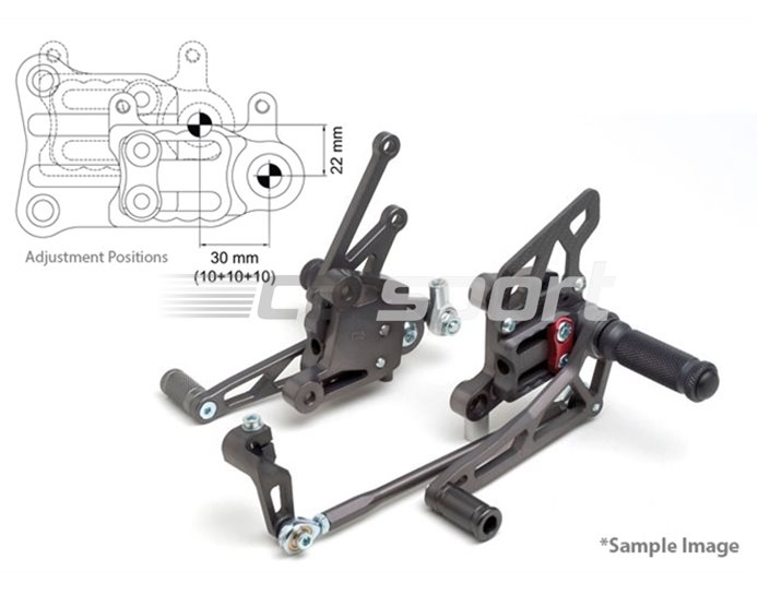 118Y134 - LSL 2Slide Adjustable Rearset Kit - Black, Transparent Red Inserts, other colours available.