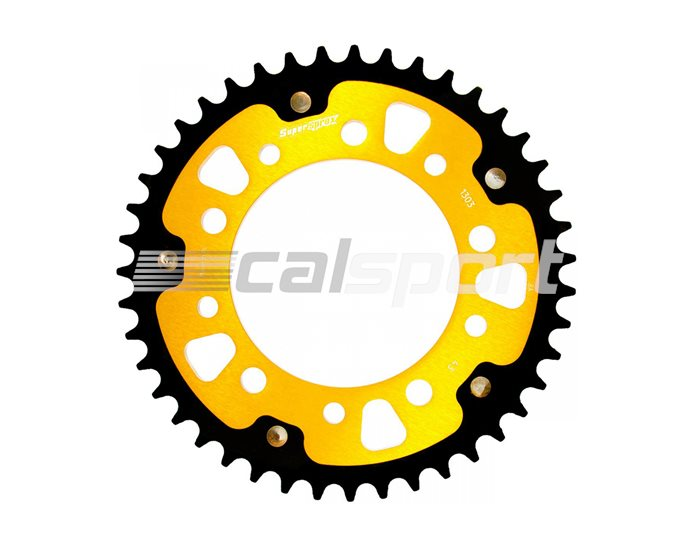 1303-43 - Supersprox Stealth Sprocket, Anodised Alloy, Gold Centre, 43 teeth