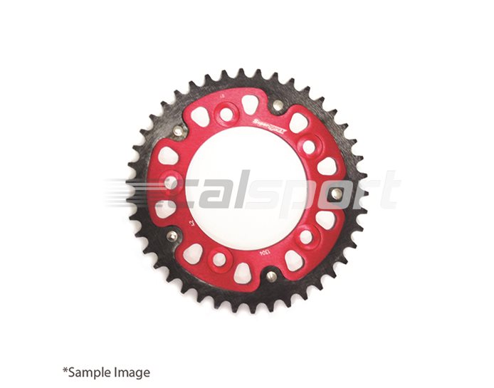 1304-43-RED - Supersprox Stealth Sprocket, Anodised Alloy, Red Centre, 43 teeth