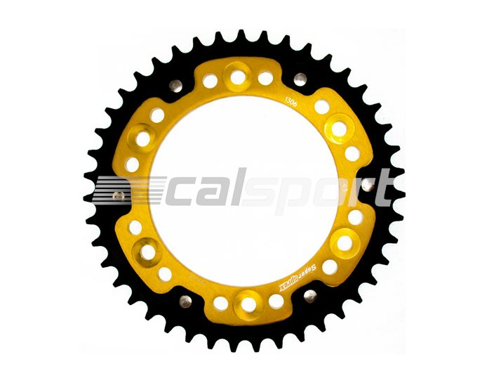 1306-43 - Supersprox Stealth Sprocket, Anodised Alloy, Gold Centre, 43 teeth