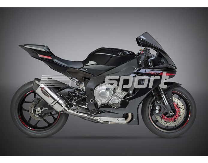 131414M520 - Yoshimura Stainless Alpha Race 3/4 System - Carbon End Cap Stainless Link Pipe (Cat Eliminator) RACE