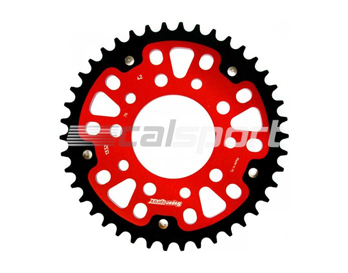 1332-42-RED - Supersprox Stealth Sprocket, Anodised Alloy, Red Centre, 42 teeth