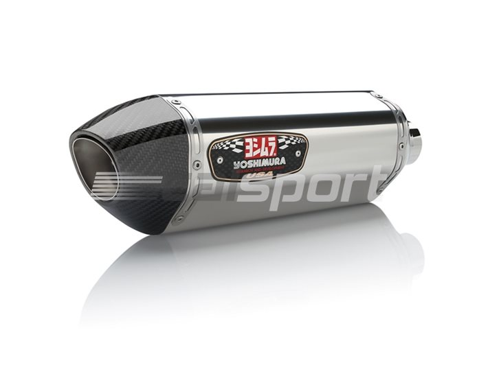 1399000521 - Yoshimura Stainless Full System - R77 Silencer- Stainless Header Carbon Coned End Cap RACE (Removable Baffle)