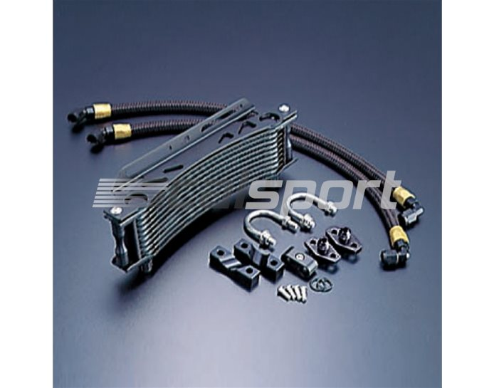 14031110B - Active 10 Row Curved Oil Cooler Kit - With All Braided Hoses & Fitting Kit - Black