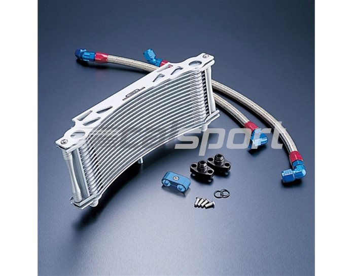 14033916 - Active 16 Row Curved Oil Cooler Kit - With All Braided Hoses & Fitting Kit - Silver