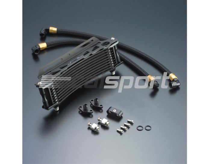 14034110B - Active 10 Row Curved Oil Cooler Kit - With All Braided Hoses & Fitting Kit - Black