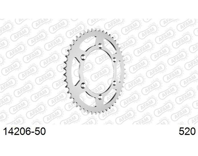 AFAM Sprocket, Rear, 520 (OE pitch), Steel  - Silver, 50T (orig size)