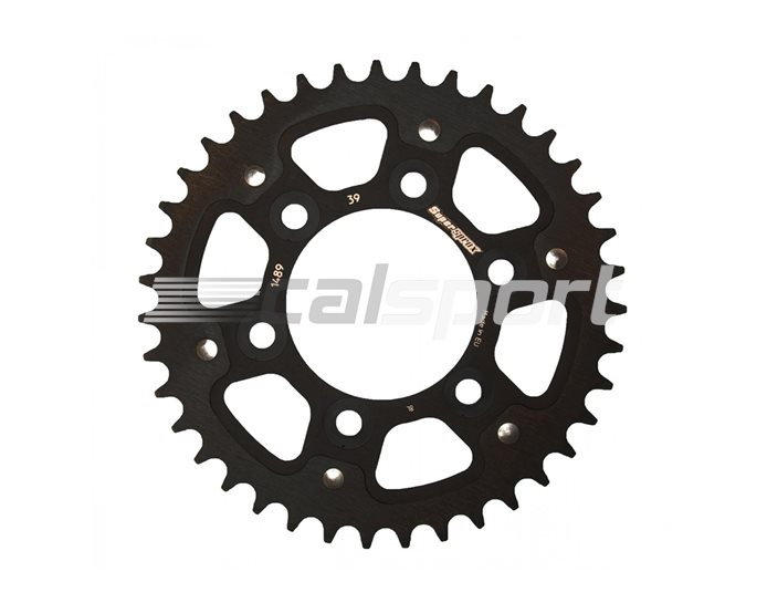 1489-39-BLACK - Supersprox Stealth Sprocket, Anodised Alloy, Black Centre, 39 teeth