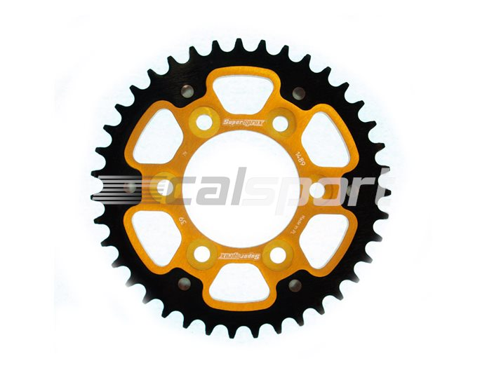 1489-39 - Supersprox Stealth Sprocket, Anodised Alloy, Gold Centre, 39 teeth