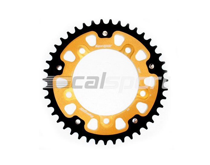 1800-43 - Supersprox Stealth Sprocket, Anodised Alloy, Gold Centre, 43 teeth