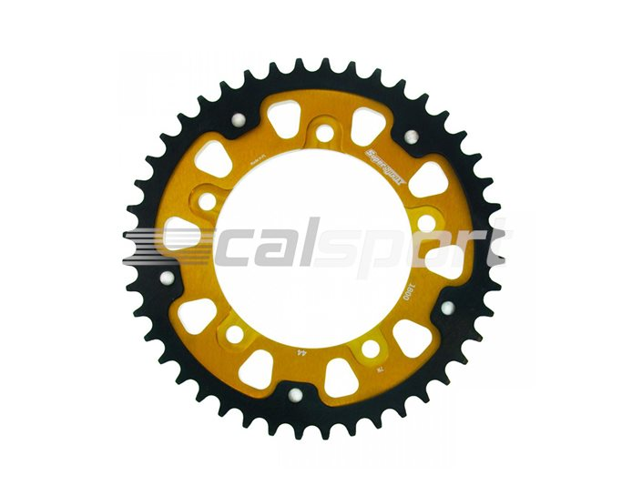 1800-44 - Supersprox Stealth Sprocket, Anodised Alloy, Gold Centre, 44 teeth