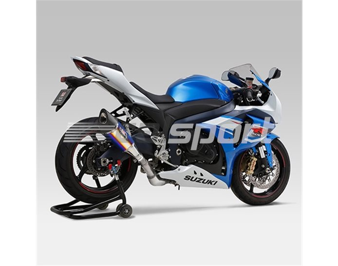 1A0-519-5E80B - Yoshimura Titanium Blue R-11 Slip On With Carbon Single-Exit Coned End Cap - Yoshimura Japan - Road-Legal (removable Baffle)