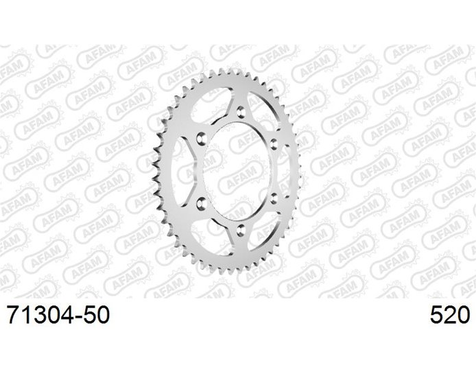 71304-50 - AFAM Sprocket, Rear, 520 (OE pitch), Steel  - Silver, 50T (orig size)