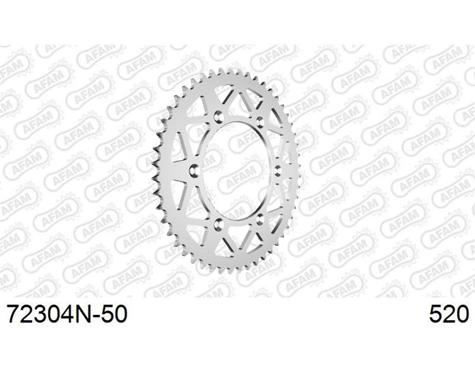 72304N-50 - AFAM Sprocket, Rear, 520 (OE pitch), Ultralight Aluminium  - Anodised Silver, 50T (orig size)