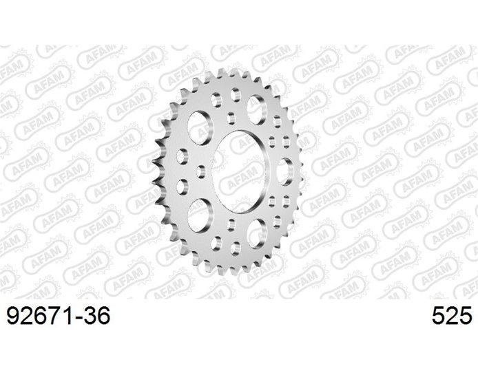 AFAM Sprocket, Rear, 525 (OE pitch), Steel  - Silver, 36T (orig size)